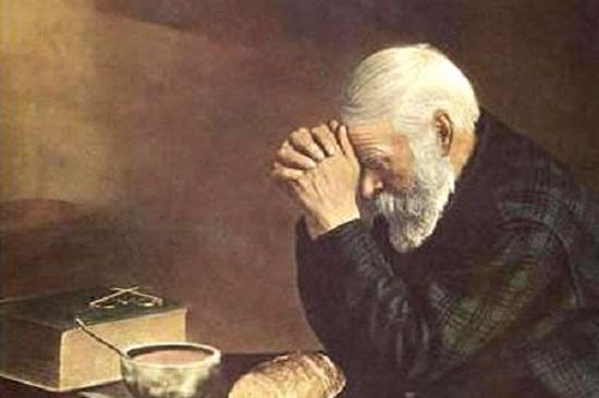 imádkozó öreg, Biblia, kenyér
